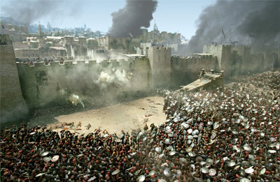 Saladin attacks Jerusalem in a great battle scene.