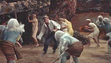George fights the Morlocks in their labyrinth.