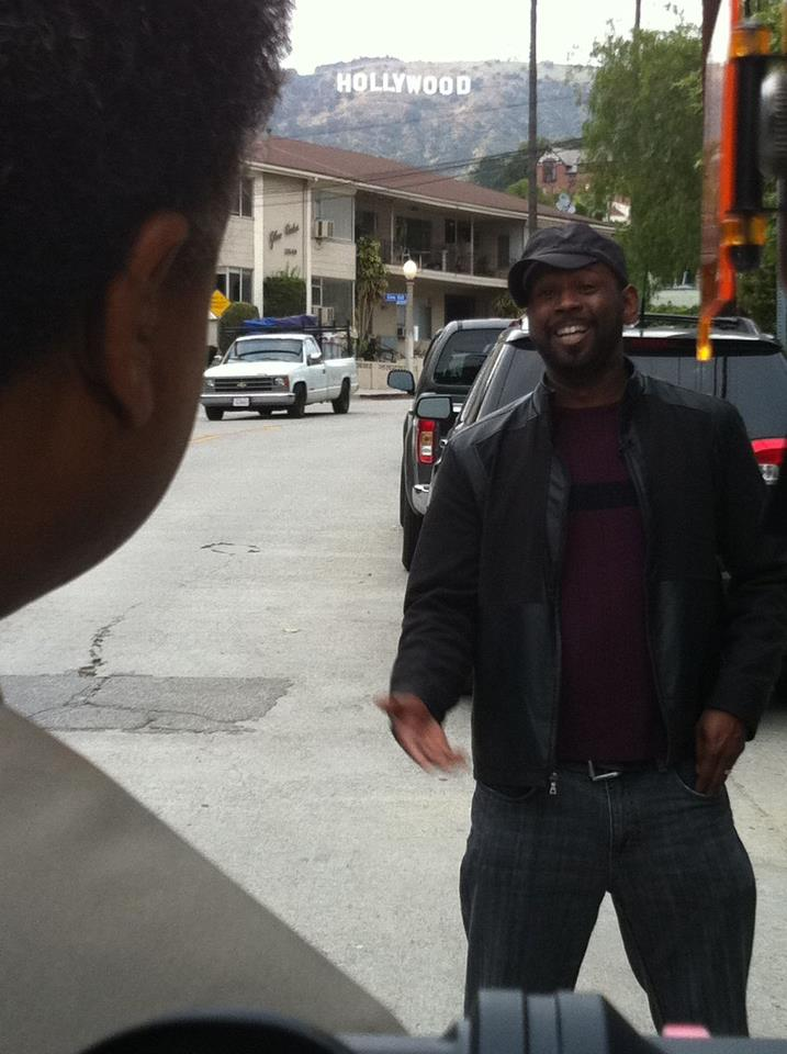 Bryant interviews Alfonzo Rachel on the streets of L.A.
